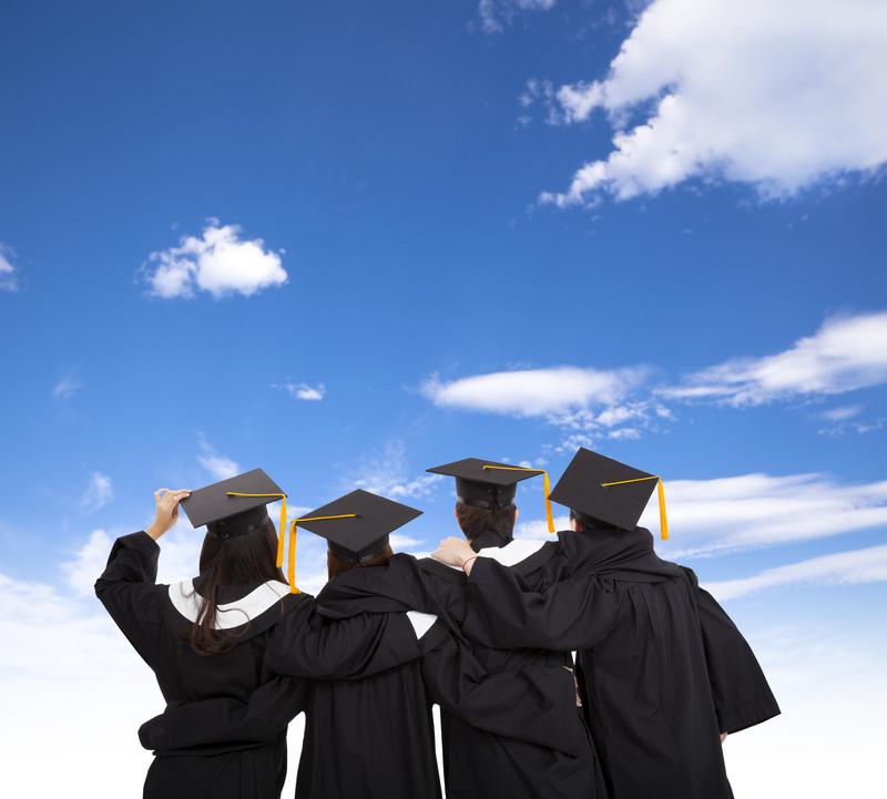 quatre, Diplômé, étudiants, regarder, ciel