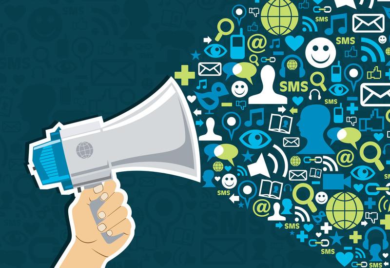 porte voix, Lancement, Social, média, icônes