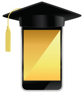 intelligent, téléphone, Porter, Remise de Diplomes