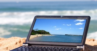 laptop on beach
